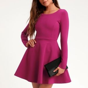 NWT Lulus Forever Chic magenta fit & flare dress S